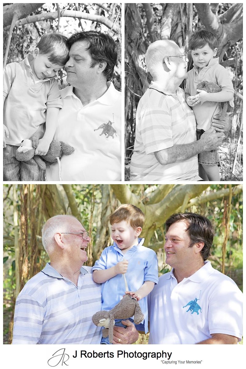 Extended or multi generation family portraits in the park and beach Sydney
